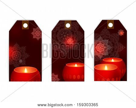 vector tag candles flame light dark warm glow label card