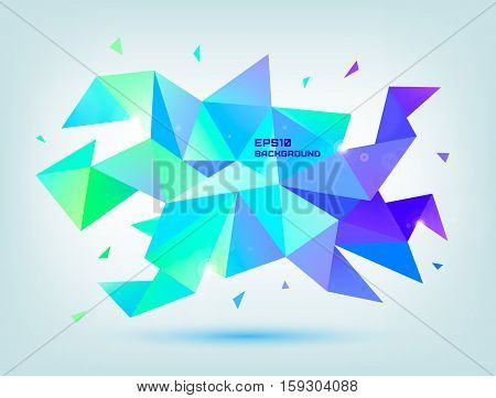 Vector abstract colorful blue, purple, green faceted crystal banner, 3d shape with triangles, geometric, modern template