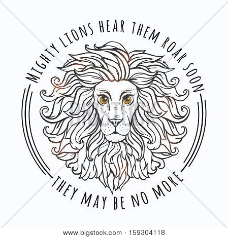 Lion vector illustration. Slogans animal protection. World Environment Day
