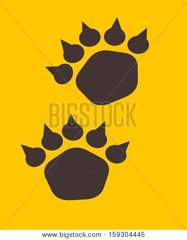 Illustration of bear trace. Bear footstep on yellow background
