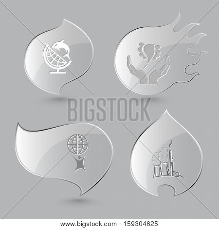 4 images: globe and shamoo, bird in hands, little man, thermal power engineering. Ecology set. Glass buttons on gray background. Fire theme. Vector icons.