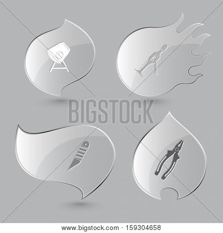 4 images: concrete mixer, hand drill, knife, pliers. Industrial tools set. Glass buttons on gray background. Fire theme. Vector icons.