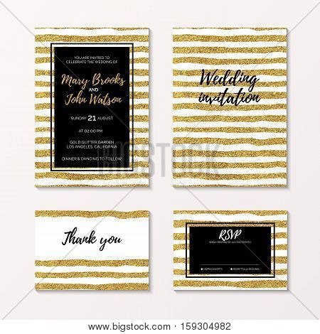 Wedding set of invitation, rsvp and thank you card with gold glitter stripe, bridal template with golden lines, hand drawn vector design
