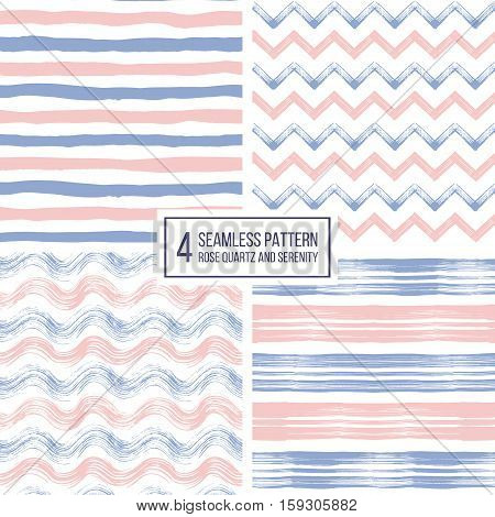 Set of grunge seamless pattern of stripes, waves, zigzag chevron in color 2016 rose quartz and serenity, texture lilac and pink lines, wavy and zig zag stripes, hand drawn vector pattern poster