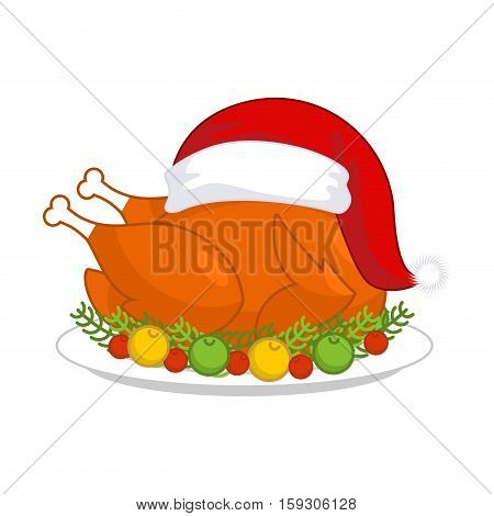 Christmas Turkey In Santa Claus Cap. Roast Fowl On Plate With Vegetables. Fried Chicken In Festive R