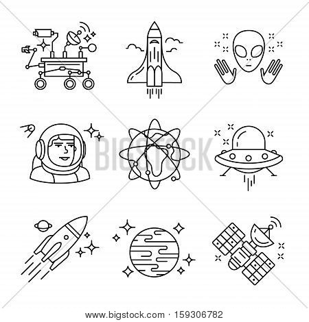 Cosmos exploration sings set. Planets, rockets, lander, satellites and astronaut in helmet. Oh, forgot about alien and his ship. Thin line art icons. Linear style illustrations isolated on white.