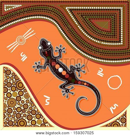 Aboriginal art vector painting. Illustration based on aboriginal style of dot painting.