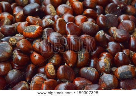 Fresh Raw Chestnuts (marrons) Close Up