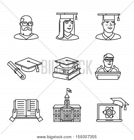 University and academic education signs set. Thin line art icons. Linear style illustrations isolated on white.