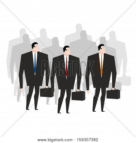 Crowd Managers. Many Businessmen. Throng Office Clerks