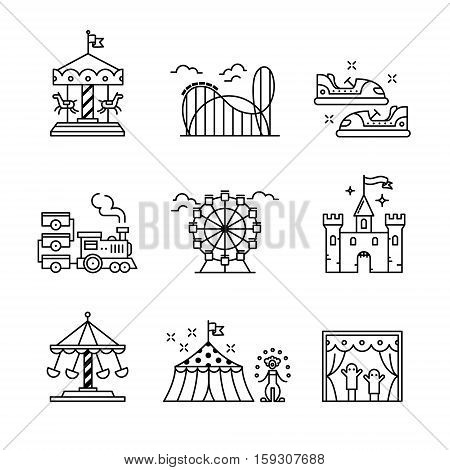 Theme amusement park sings set. Thin line art icons. Linear style illustrations isolated on white.
