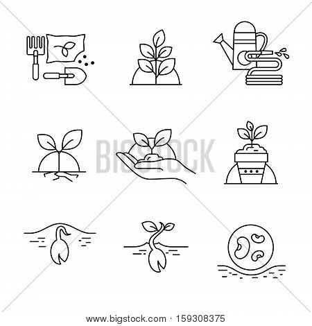 Sprouting seeds and home gardening. Thin line art icons. Linear style illustrations isolated on white.