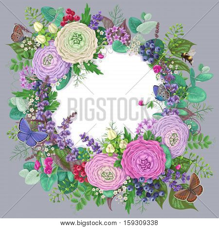Round frame with buttercup flower berries flying and sitting butterflies and bumblebee. Romantic floral greeting or invitation card. White label decorated flowers isolated on grey background.