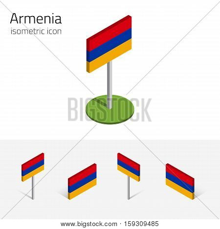 Armenian flag (Republic of Armenia) vector set of isometric flat icons 3D style different views. Editable design elements for banner website presentation infographic poster map. Eps 10