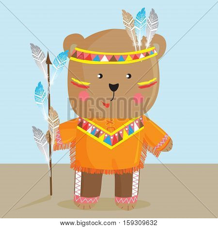 Cute bear in the way of the North American Indian.Vector illustration can be used for designing shirt toddler or baby/ fashion print design/ graphic mods/ t-shirt/ children's clothing