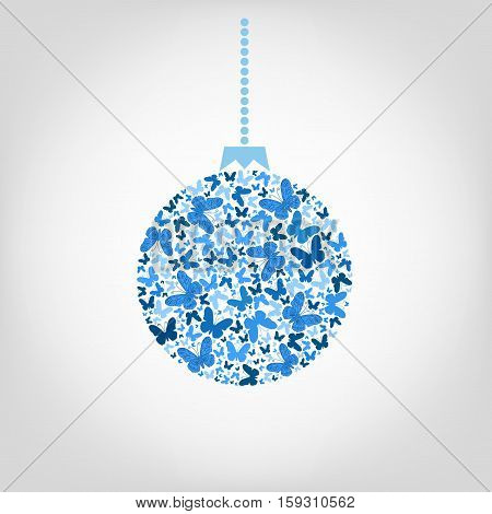 Vector Christmas tree ball from blue butterfly. Christmas background greeting card for New Year.