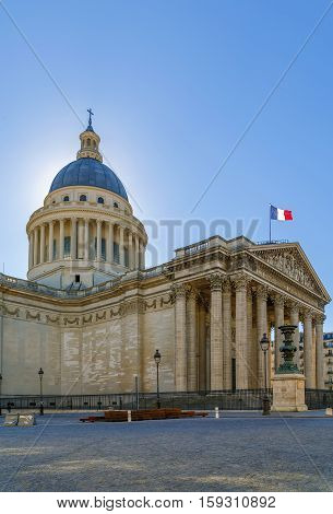 Pantheon in Paris France. It is an early example of neoclassicism with a facade modeled on the Pantheon in Rome