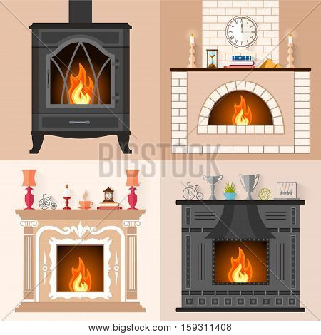 Vector set of fireplaces in flat style. Collection of icons of different fireplaces with flame. Template for your design.