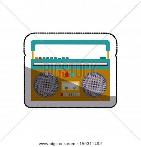 Tape recorder icon. Music radio retro and sound theme. Isolated design. Vector illustration