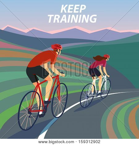 Pair of cyclists riding on the road near the hills and mountains. Including Keep training title. Fast road biker. Editable vector illustration.