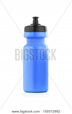 Blue bicycle bottle isolated on a white background.