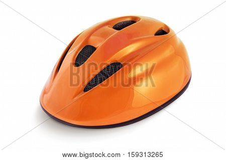 Orange cycling helmet isolated on a white background.