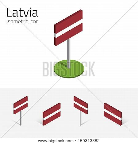 Latvian flag (Republic of Latvia) vector set of isometric flat icons 3D style different views. 100% editable design elements for banner website presentation infographic poster map. Eps 10