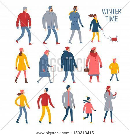 Set of cartoon people in winter clothes. Including various lifestyles and ages like businessman man woman teenagers children seniors couple. Characters illustrations for your design.