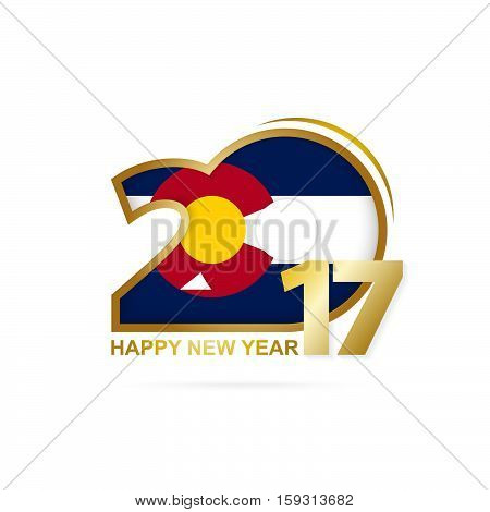 Year 2017 With Colorado State Flag Pattern. Happy New Year Design On White Background.