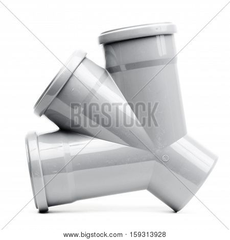 Grey drain pipe isolated on a white background