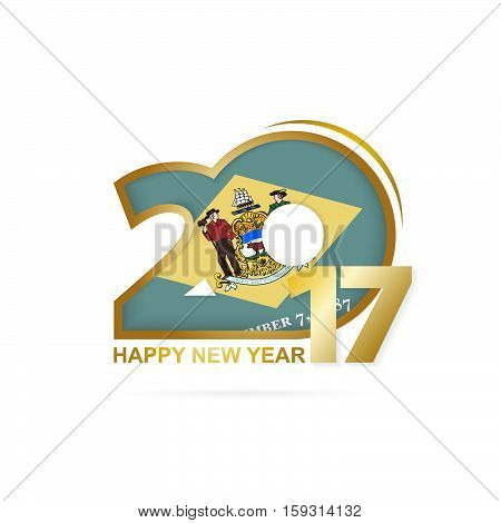 Year 2017 With Delaware State Flag Pattern. Happy New Year Design On White Background.