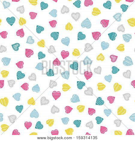 Sweet hearts. Vector seamless pattern with hand drawn hearts. Heart with doodle ornament. Colorful background for St. Valentine's Day. On white background.
