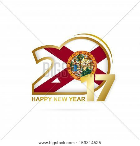 Year 2017 With Florida State Flag Pattern. Happy New Year Design On White Background.