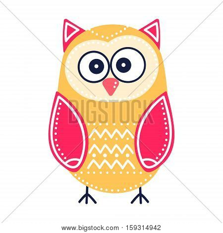 Cute yellow owl. Vector hand drawn flat bird with white ornament. Bright color owl for childish design. Isolated. On white background.