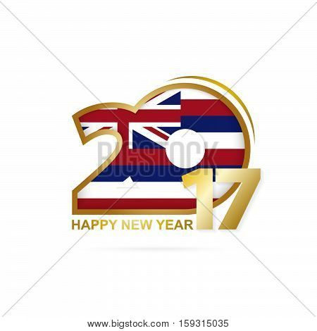 Year 2017 With Hawaii State Flag Pattern. Happy New Year Design On White Background.