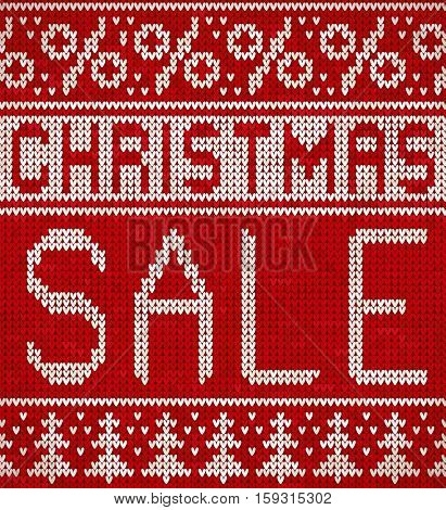 Christmas Sale, knitting pattern with a Christmas trees and percentage signs. Knitted holiday design.