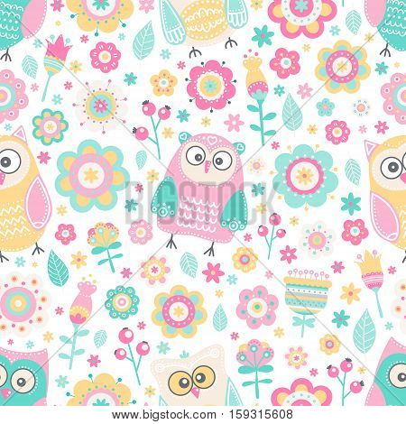 Cute flat owl. Vector seamless pattern with birds and flowers. Pastel colors - pink yellow green grey and white. Cute background for kids. Flat style.