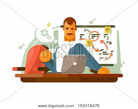 Mega brain, smart employee in workplace think. Vector flat illustration