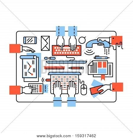 Modern business team working together. Design, coding, sales, accounting and marketing sitting at the same desk. Thin line art flat illustration with icons.