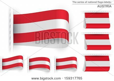 National state flag of Austria; Sewn clothing label tag; Vector icon set Republic of Austria flags Eps10