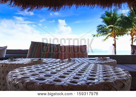 Closed up table Beach living on Sea viewvacation home and travel concept - sea view from balcony of restaurant or home or hotel room