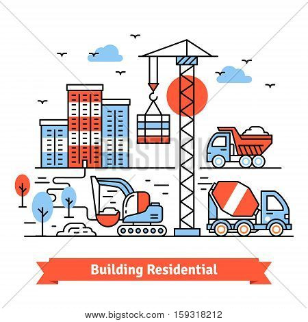 Residential building site and machinery composition. Thin line art icons set. Flat style illustrations isolated on white.