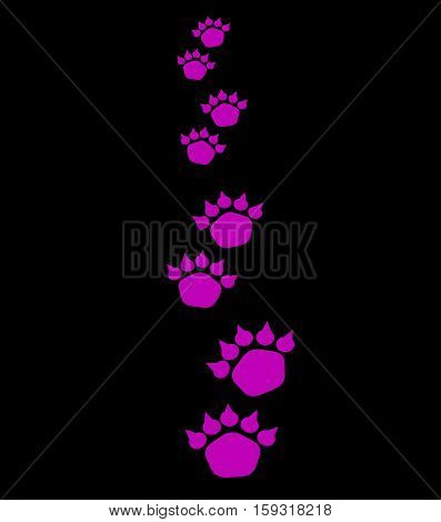 Illustration of bear footsteps. Bear traces on a dark background