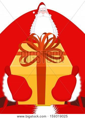 Santa Claus Big. Large Christmas Grandfather. Enormous Santa With Beard In Red Suit. Illustration Fo