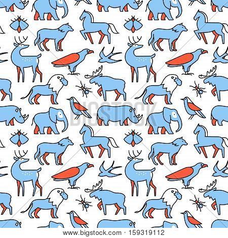 Popular wild life animals icons square seamless pattern. For store sales decoration. Thin line art flat objects texture illustration.