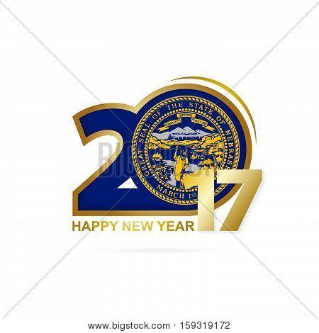 Year 2017 With Nebraska State Flag Pattern. Happy New Year Design On White Background.