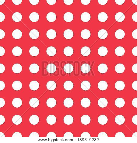 seamless pattern of white peas, peas, classic pattern fabric white circles on a red background for elegant dresses, vector seamless