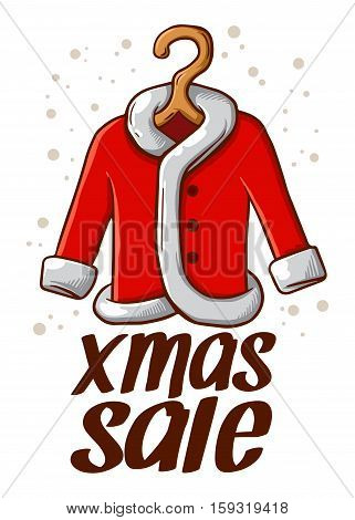 Vector stock of Christmas Sale sign with Santa Claus Coat in hanger