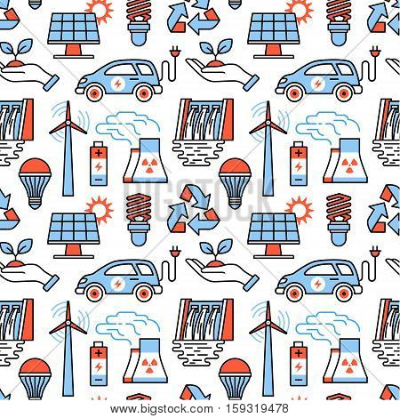 Power generation and ecologic energy icons square seamless pattern. For store sales decoration. Thin line art flat objects texture illustration.