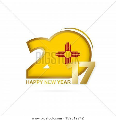 Year 2017 With New Mexico State Flag Pattern. Happy New Year Design On White Background.